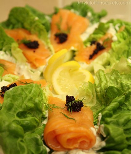 Smoked Salmon on a Bed of Lettuce