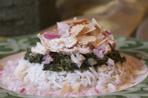 Mloukhieh- Jew's Mallow & Cardamom-Infused Chicken over Rice