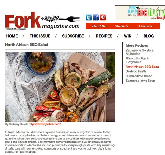 Fork Magazine Bethany Kehdy Middle Eastern North African BBQ Vegetable Salad