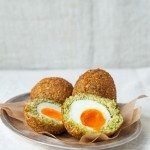 Falafel Scotch Eggs with Ginger & Verjuice Tahini