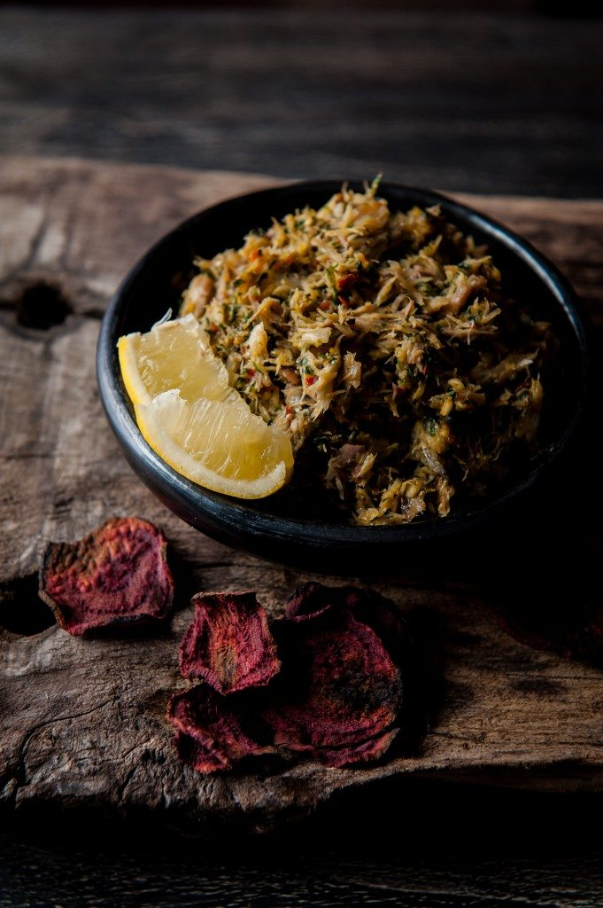 smoked mackerel and chermoula pate with beetroot crisps
