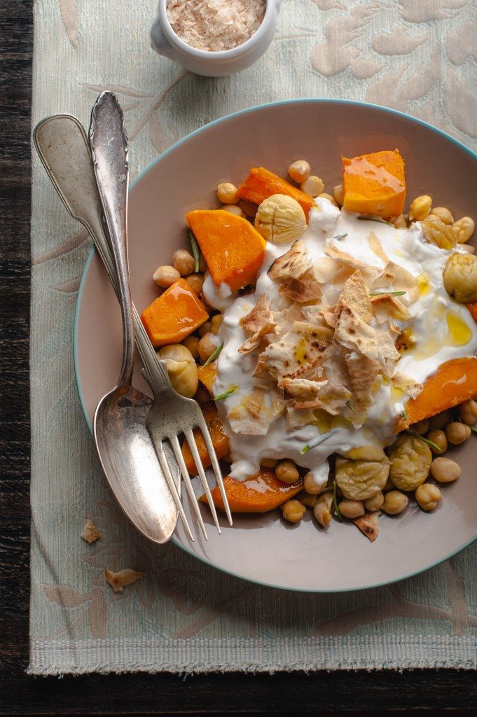 butternet squash chickepea and yogurt crumble